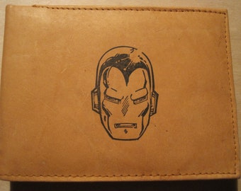 """Mankind Wallets Men's Leather RFID Blocking Billfold w/ """"Iron Man"""" Image-Makes a Great Gift!"""