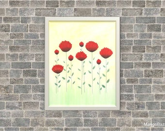 Floral watercolor painting, spring decor, flowers, bright home decor, Digital file - Instant download