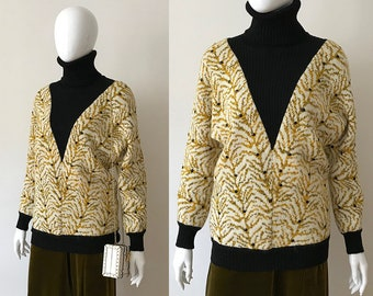Vintage 80s sweater / 80s turtle neck sweater / bat sleeve sweater / batwing sweater / yellow sweater / beaded sweater / french sweater