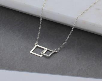 Interlocking Squares Necklace
