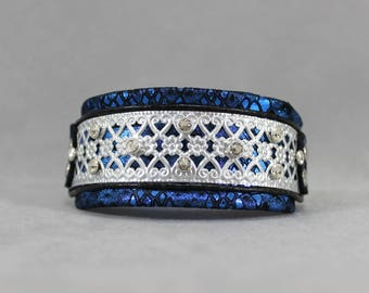 Metallic Blue Snakeskin, Silver Filigree, and Swarovski Crystal Leather Martingale Dog Collar
