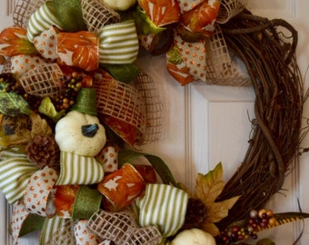 Fall Grapevine Wreath with White Pumpkins, Berries, Leaves and Faux Feathers; Autumn Wreath Decor; Fall Door Decor Wreath; Primitive Rustic
