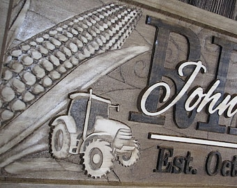 Personalized Family Name Signs Personalized Farm Sign Corn Crop Tractor CARVED Custom 3D Wood Sign Last name wedding gift Ranch family farms