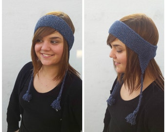 Blue and silver cotton headband, blue headband, blue hat, silver headband, knit headband, blue ear warmer, winter headband, silver and blue