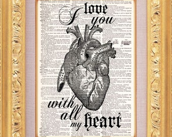 BOGO - I Love You With All My Heart Vintage Dictionary Print Vintage Book Print Page Art Upcycled Vintage Book Art