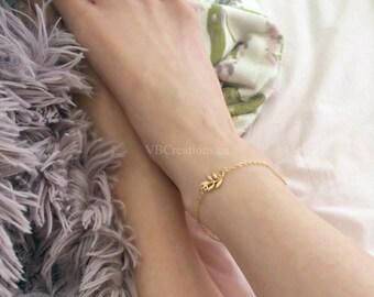 Leaf Dainty Anklet - Foot Bracelet - Leaf - Gold - Vine - Beach - Gift - Chic