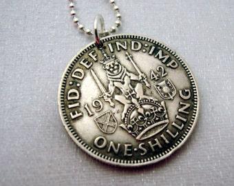 Antique Scottish SILVER SHILLING coin necklace - lion on crown - Scottish crest - coin jewelry - Scottish lion - Scotland - Man necklace