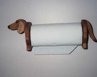 Dachshund paper towel holder handcrafted