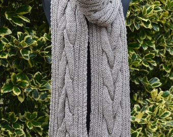 Cable knit extra long chunky scarf in stone.