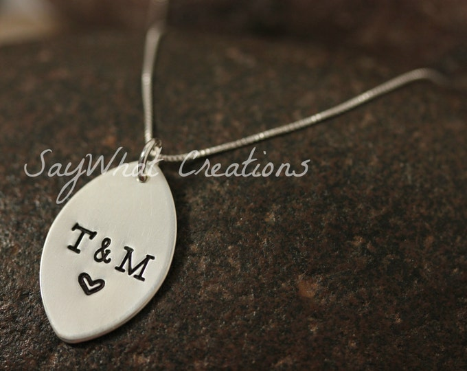 Sterling Silver Football Necklace with Numbers or Initials