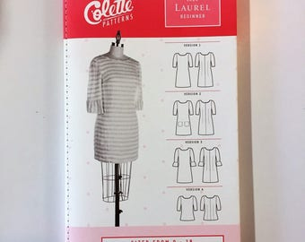 The Laurel by Colette Patterns - Paper Sewing Pattern - 3/4 Sleeve Shift Dress Pattern - Womens sizes 0 to 18