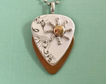 "Guitar Pick Necklace ""When The Sun's Out"""