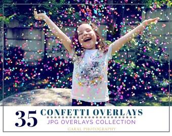 35 Confetti Photoshop Overlays, confetti overlays, Photoshop overlay, party overlays, wedding overlays, holidays easter overlays celebration