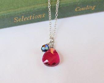 Ruby Swarovski Crystal Necklace - Jewellery Jewelry Teardrop Siam Red Rose Fuchsia Black - Wire Wrapped For Women Dainty July Birthstone