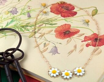 Daisy Chain Necklace - Wildflower Necklace - Daisy Jewellery