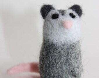 Felted Opossum; Handmade Needle Felted Opossum; Woodland Opossum