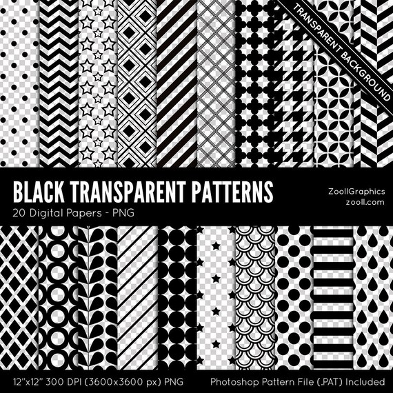 """Black Transparent Patterns, 20 Digital Papers (12""""x12""""), Transparent  Background, Pattern File PAT Included, Commercial Use INSTANT DOWNLOAD"""