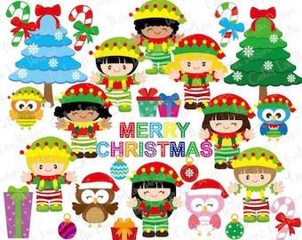 CHRISTMAS KIDS Digital Clipart, Christmas Clipart, Owl Clipart, Elves, Elf Clipart / Instant Download (CG094)