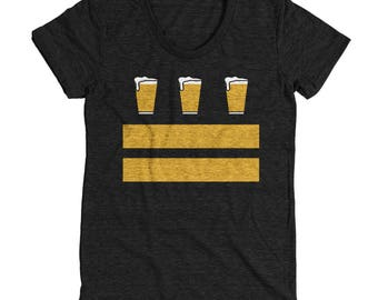 Washington DC Beer Flag - Women's Tee - Local Craft Beer on a DC Flag