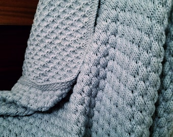 """Hand knit light blue textured blanket or throw, 55"""" x 60"""""""