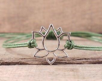 Lotus Flower Bracelet, spiritual jewelry, yoga bracelet, sacred geometry, hippie, boho, buddhist, surfer