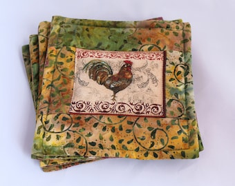 Set of Four Morning Rooster Quilted Fabric Coasters Coffee Mug Rug, Handmade Cloth Snack Mats or Drink Coasters