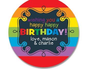 Rainbow Birthday Gift Stickers, Personalized, Happy Birthday Round Gift Labels, Gift Tag Stickers, Kids Birthday Stickers