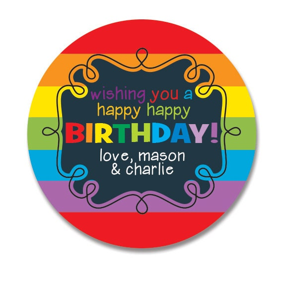 Rainbow birthday gift stickers personalized happy birthday round gift labels gift tag stickers kids birthday stickers