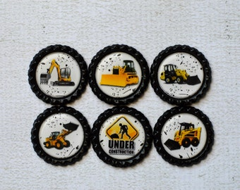 Construction Vehicles Bottlecap Magnets- Boy Magnets- Birthday Party Favors- Under Construction- Boy Gift- Digger, Backhoe, Excavator