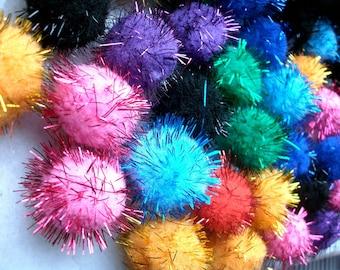 100 tassels multicolor glitter 2 cm in diameter for Decorations custom Scrapbooking embellishments