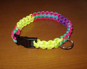 "SALE Dog Collar Multicolor Paracord 13 1/2"" Non Adjustable Handcrafted"