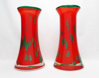 Valner orange chimney vases - a pair