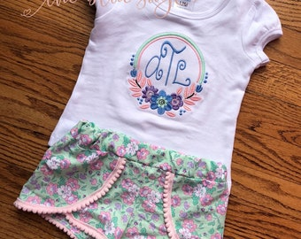 Girls floral frame shirt with floral girly shorts little girls