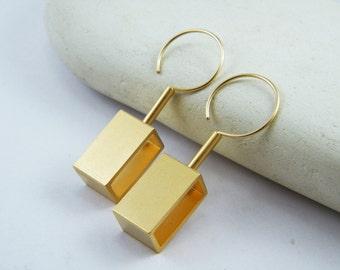 Geometric gold statement earrings Movement jewelry Gold Rectangle dangle earrings Kinetic earrings