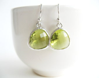 Apple Green Earrings, Silver Green Glass Earrings, Spring Green Earrings, Apple Green Bridesmaids Earrings, Apple Green Wedding Jewelry