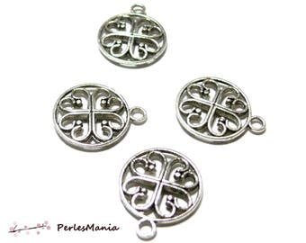 10 round pendants Medallion perforated 2K 9448 antique silver jewelry supplies
