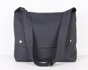 Men Messenger / Gray Canvas / Claret Red Lining / Adjustable strap / Women Messenger / Travel Bag