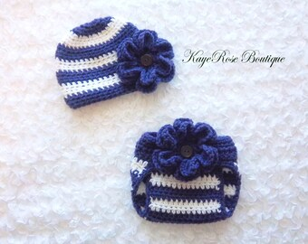 Newborn Baby Girl Crochet Flower Hat and Diaper Cover Set Purple and White Stripes