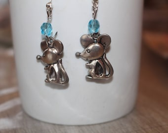 Mouse EARRINGS in silver and pearls