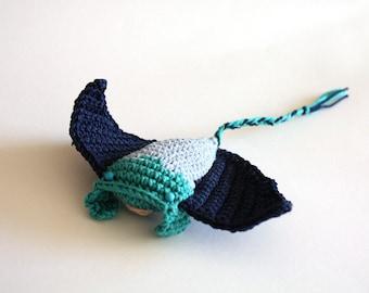 Manta Ray crochet toy, baby teether, nautical amigurumi, ocean monster, whimsical toy, handmade teething toy, nautical baby shower, sea gift