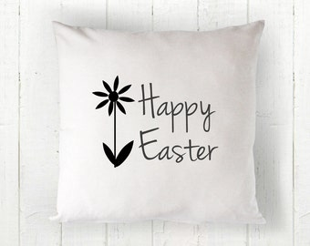 Happy Easter Pillow Cover - 16 x 16, Easter Pillow, Easter Decor, Farmhouse Pillow, White Pillow, Farmhouse Style