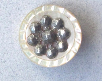 Carved Pearl Button With Cut Steel Escutcheon