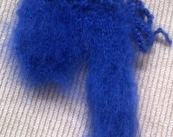 Fuzzy Mohair sweater closed willie warmer Pouch in Royal Blue by uniquemohair