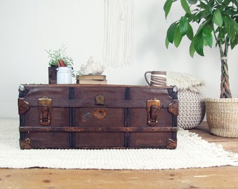 trunk coffee table,wooden trunk,storage trunk,vintage trunk,steamer trunk,travel trunk,HENRY LIKLY & CO,Rochester ny,farmhouse antiques