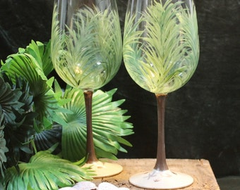Hand Painted Wine Glasses - Palms (Set of 2)