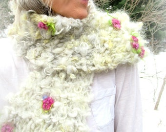 forest faerie old world rosebud art yarn scarf - winter forest shepherdess fantasy scarf