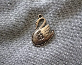 Teal 20 mm x 25 mm antique silver Swan charm or pendant