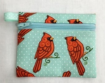 Cardinal Bird Zipper Coin Purse, Earbud, Credit Card Pouch