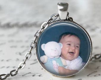 Personalized Custom Photo Pendant, Necklace or Key Chain - Choice of Bezel Color - One Inch Round - photo necklace, baby photo