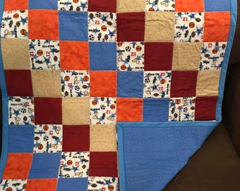 Sport inspired baby quilt